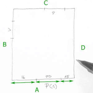 Para tomar medidas haz lo mismo. Empieza tomando las medidas de todos los segmentos de la primera pared que hemos dibujado (A).
