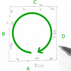 Luego la de la izquierda (B), la de enfrente (C) y la de la derecha (D) siempre en el sentido de las agujas del reloj y cerrando el rectángulo. Es importante tener el papel siempre en el mismo sentido de lo que estamos viendo así como medir todos los segmentos que hemos dibujado.