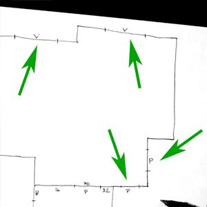 Marcamos dónde están las puertas (P) y las ventanas (V).