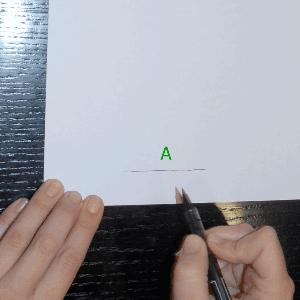 Sitúate en la puerta de entrada.Dibuja una línea horizontal (A). Este será tu punto de partida.