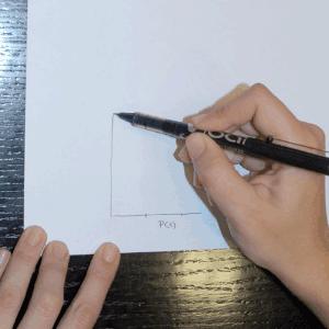 Mira la pared que tienes a la izquierda, dibuja una línea (B)